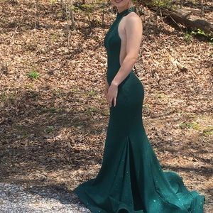Hunter green prom dress